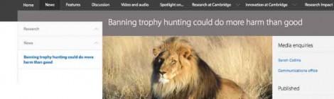 """Tres universidades internacionales defiende la caza como """"importante herramienta de conservación"""""""