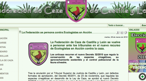 La Federación de Caza de Castilla y León se vuelve a personar ante los tribunales en el nuevo recurso de Ecologistas en Acción contra la caza